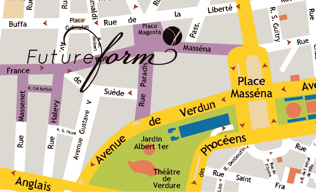 Un plan du centre ville de Nice avec l'addresse de Future Form Pilates, au 6 rue Massena